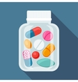Medical background with pills and capsules in vector image