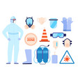medical safety equipment man in protect clothes vector image