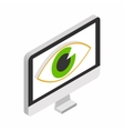Monitor with eye isometric 3d icon vector image vector image