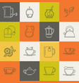 multicolor tea line icons set vector image vector image