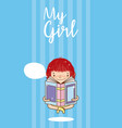 my girl cute cartoon vector image vector image