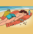 naked woman sunbathing on the beach vector image vector image