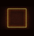 neon square frame sign isolated on brick wa vector image