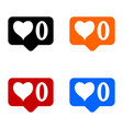 new zero like icons set vector image vector image