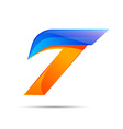 Number seven 7 logo orange and blue color with vector image vector image