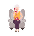 old lady elderly woman or granny sitting in cozy vector image vector image