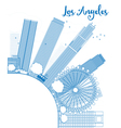 Outline Los Angeles Skyline with Blue Buildings vector image