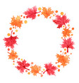 red and orange color maple leaves wreath vector image