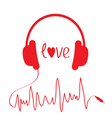 Red headphones with cord in shape of cardiogram vector image vector image