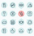 restaurant icons set with coffee cup tray vector image