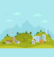 rural hilly landscape with houses and buildings vector image vector image