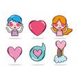 set of cute cartoons vector image