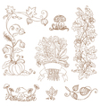 Set of decorative Autumn branches