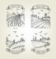 set of farm landscapes with field views vector image