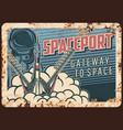spaceport rusty metal plate rocket take off vector image vector image