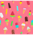 sweet ice cream flat colorful seamless pattern vector image vector image