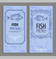 template fish menu sample with vintage frame vector image vector image