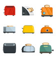 toaster kitchen bread oven icons set flat style vector image vector image