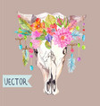 watercolor bull skull with flowers beads and vector image