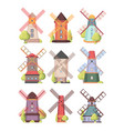 windmill farm holland rural buildings watermill vector image