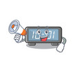 with megaphone digital clock isolated in the vector image vector image