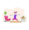 woman character doing stretching or yoga exercises vector image vector image