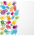Diversity colors human hand vector image