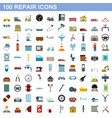 100 repair icons set flat style vector image vector image