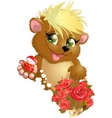 bear and flower vector image