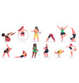 body positive fitness plus size girls do yoga vector image