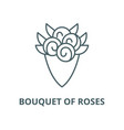bouquet roses line icon linear concept vector image vector image