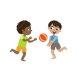 Boys Playing Volleyball vector image vector image