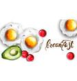 breakfast eggs and avocado fresh menu card vector image vector image