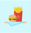 burger and fries vector image vector image