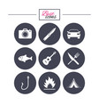camping travel icons fishing tourist tent vector image