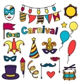 Carnival show set of doodle icons and objects vector image