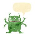 cartoon alien monster with speech bubble vector image