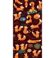 Cartoon seamless pattern with cute foxes Forest vector image