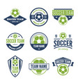 collection of white green and blue soccer vector image vector image