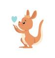 cute baby kangaroo with heart brown wallaby