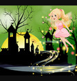 cute fairy flying with castle towers in background vector image vector image