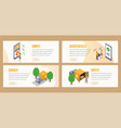 delivery isometric landing pages template vector image vector image