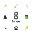 flat icon halloween set of fortress broom vector image vector image