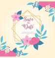 flowers wedding save date elegant flowers vector image