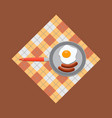 fried egg and sausage in frying pan flat color vector image