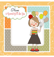 Funny girl with balloon birthday greeting card vector image
