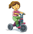 Girl Riding Tricyle vector image vector image