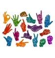 hands icons set isolated on white background vector image