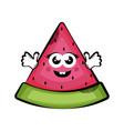 happy cut watermelon cartoon colored sketch vector image