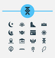 holiday icons set collection of prayer place vector image vector image